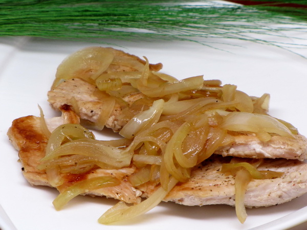 Pan Fried Turkey Cutlets Smothered in Onions