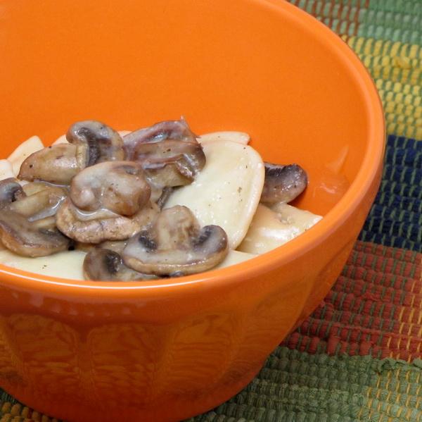 Pierogies in Mushroom Sauce