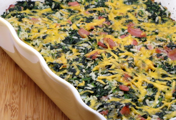 Spinach, Ham and Rice Casserole