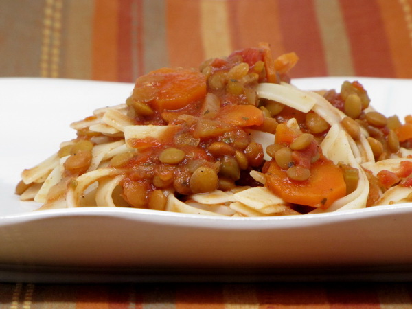 Pasta and Lentils (Crock Pot)