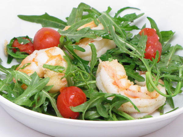 Sauteed Shrimp with Arugula
