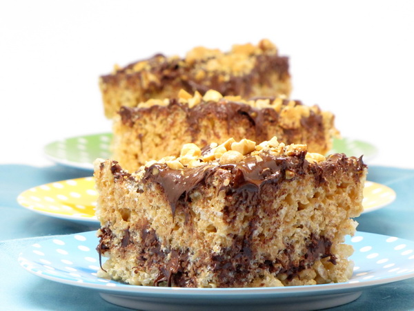 Rice Krispie Treat with Chocolate and Peanut Butter