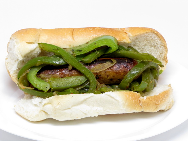 'Sausage' and Pepper Sandwich
