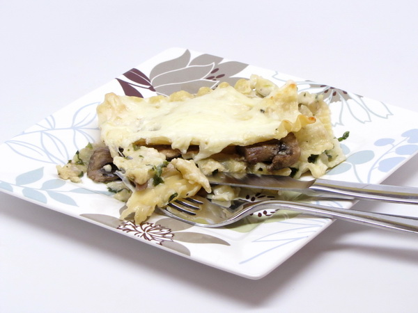 Spinach and Mushroom White Lasagna