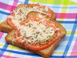 Open Faced Warm Mozz Sandwiches