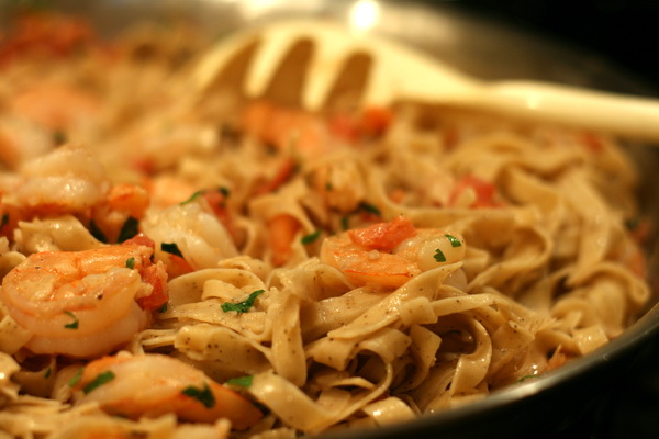 Fettuccine and Shrimp