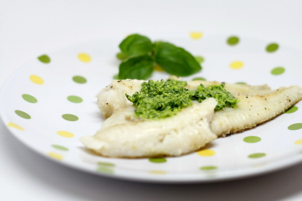 White Fish with Lime Basil Pesto