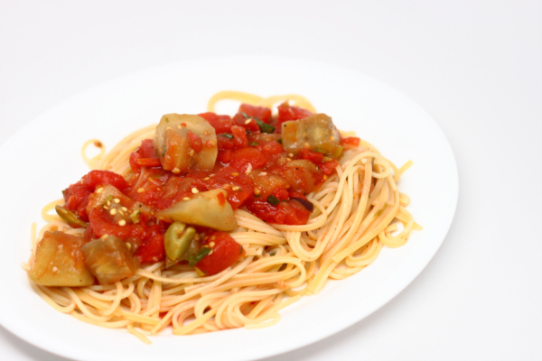 Eggplant Pomodoro over Spaghetti