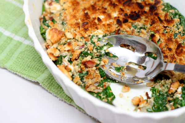 Spinach and White Bean Gratin with Bacon | Recipe